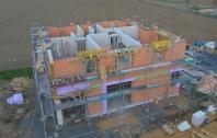 Luftaufnahme Mauerarbeiten Obergeschoß